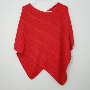 LOFT Cable Knit Aysemstric Poncho